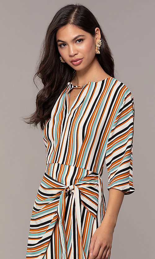Image of striped short casual party dress with sleeves. Style: EM-FZW-3907-711 Detail Image 2