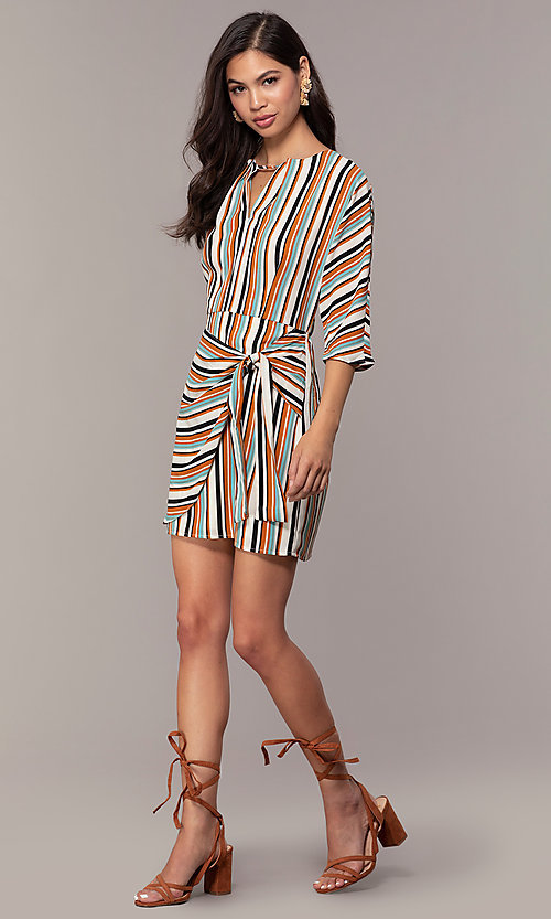Image of striped short casual party dress with sleeves. Style: EM-FZW-3907-711 Detail Image 3
