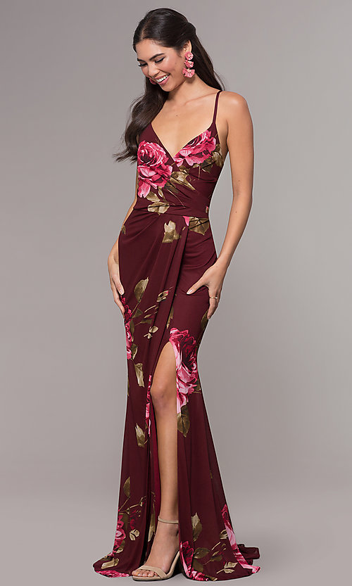 Image of mock-wrap floral-print long prom dress by Simply. Style: MCR-SD-2660 Front Image