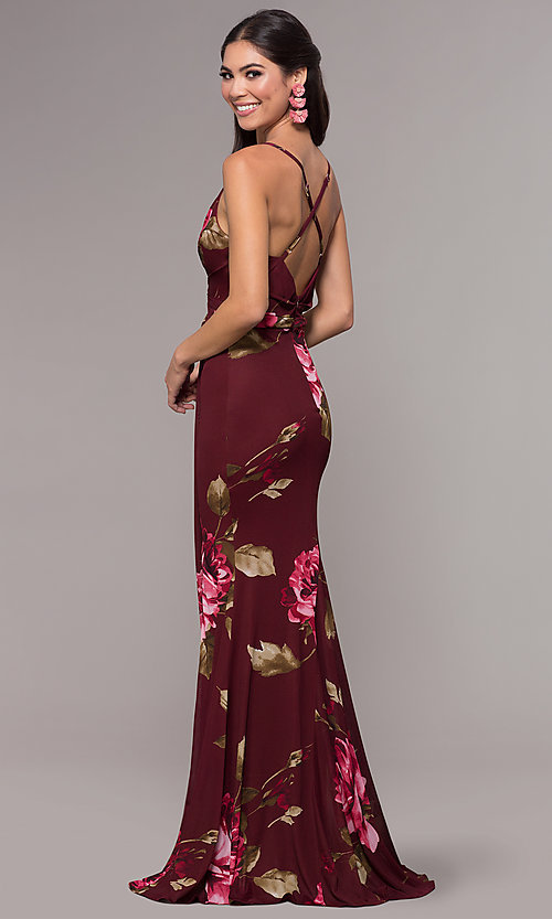 Image of mock-wrap floral-print long prom dress by Simply. Style: MCR-SD-2660 Back Image