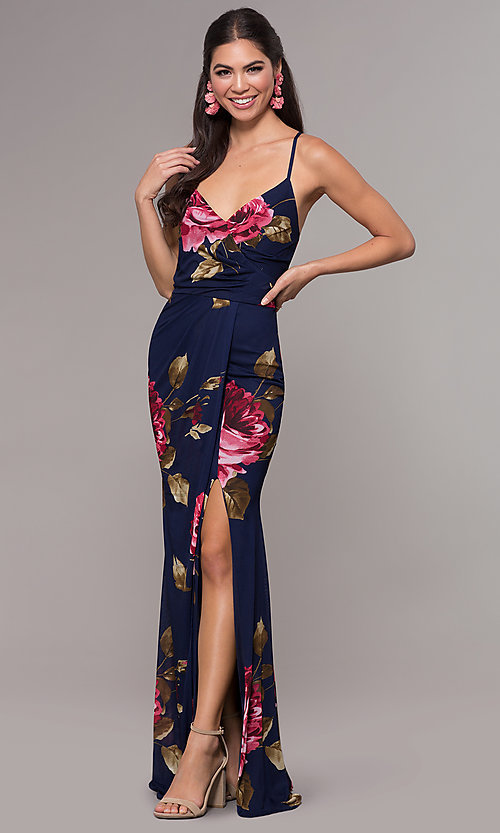 Image of mock-wrap floral-print long prom dress by Simply. Style: MCR-SD-2660 Detail Image 4