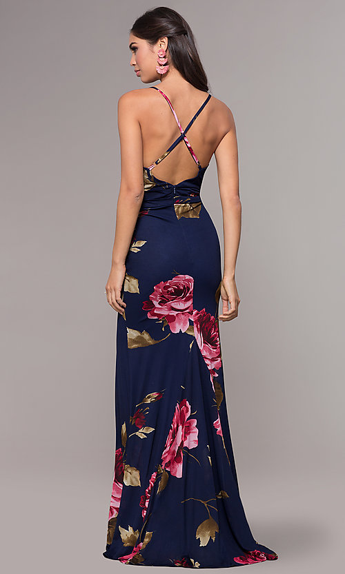 Image of mock-wrap floral-print long prom dress by Simply. Style: MCR-SD-2660 Detail Image 5