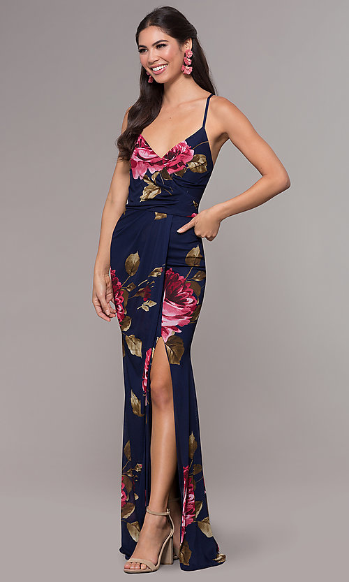 Image of mock-wrap floral-print long prom dress by Simply. Style: MCR-SD-2660 Detail Image 3