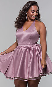Image of short lace-back satin homecoming plus-size dress. Style: DQ-PL-3093P Front Image