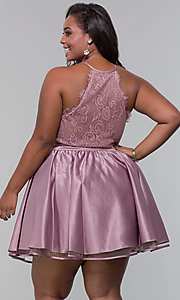 Image of short lace-back satin homecoming plus-size dress. Style: DQ-PL-3093P Back Image