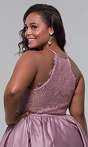 Image of short lace-back satin homecoming plus-size dress. Style: DQ-PL-3093P Detail Image 2