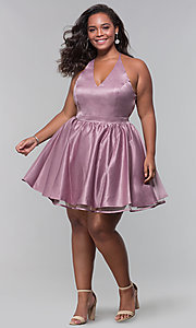 Image of short lace-back satin homecoming plus-size dress. Style: DQ-PL-3093P Detail Image 3