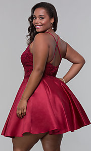 Image of short satin plus-size homecoming dress with pockets. Style: DQ-3028P Back Image