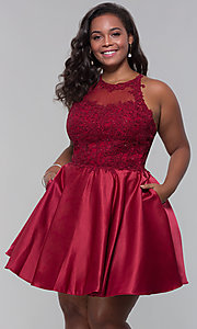 Image of short satin plus-size homecoming dress with pockets. Style: DQ-3028P Front Image