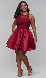 Image of short satin plus-size homecoming dress with pockets. Style: DQ-3028P Detail Image 1