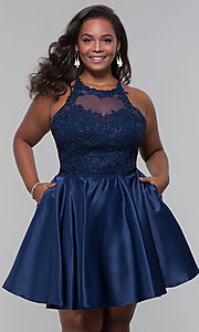 Image of short satin plus-size homecoming dress with pockets. Style: DQ-3028P Detail Image 6