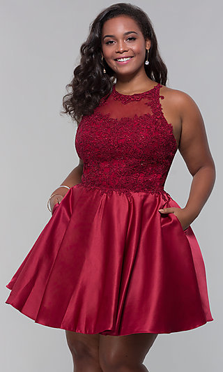 Short Satin Plus-Size Homecoming Dress with Pockets