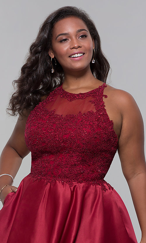 Image of short satin plus-size homecoming dress with pockets. Style: DQ-3028P Detail Image 2