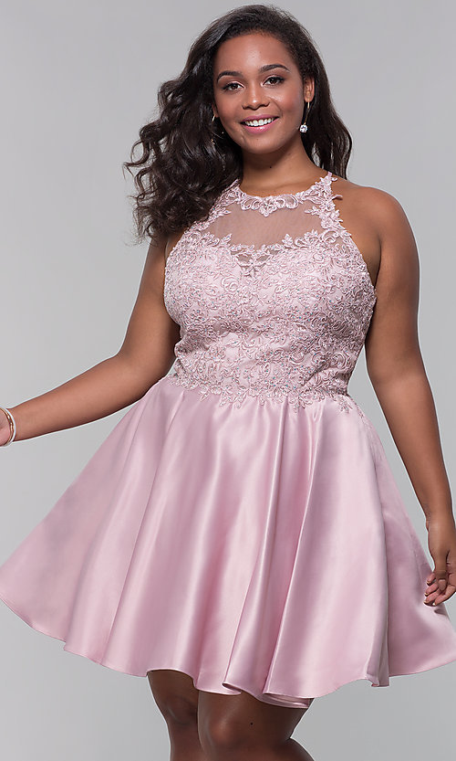 Image of short satin plus-size homecoming dress with pockets. Style: DQ-3028P Detail Image 3