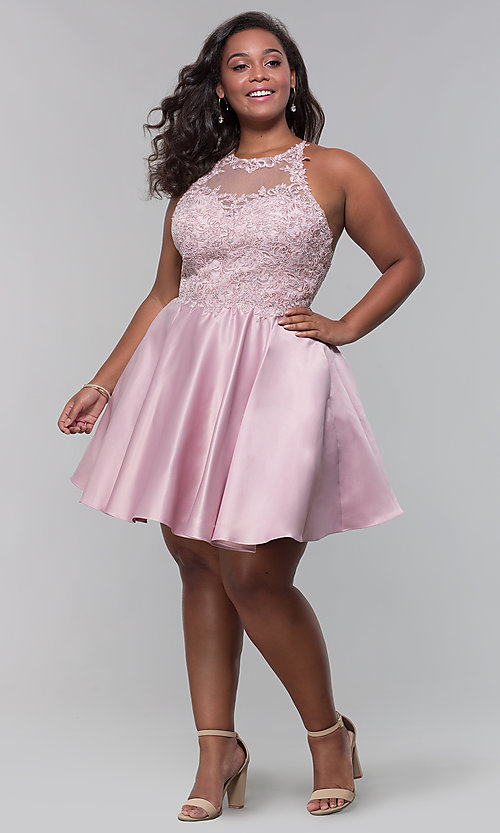 Image of short satin plus-size homecoming dress with pockets. Style: DQ-3028P Detail Image 5