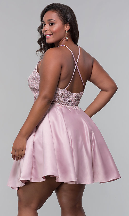 Image of short satin plus-size homecoming dress with pockets. Style: DQ-3028P Detail Image 4