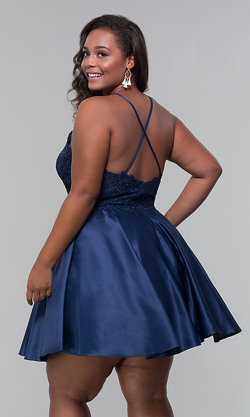 Image of short satin plus-size homecoming dress with pockets. Style: DQ-3028P Detail Image 7