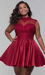 Image of plus-size short homecoming dress with lace. Style: DQ-3069P Front Image