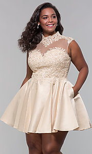Image of plus-size short homecoming dress with lace. Style: DQ-3069P Detail Image 5