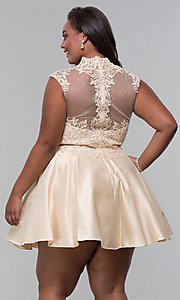 Image of plus-size short homecoming dress with lace. Style: DQ-3069P Detail Image 6