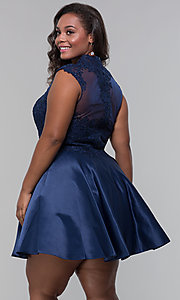 Image of plus-size short homecoming dress with lace. Style: DQ-3069P Detail Image 2