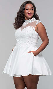 Image of plus-size short homecoming dress with lace. Style: DQ-3069P Detail Image 7