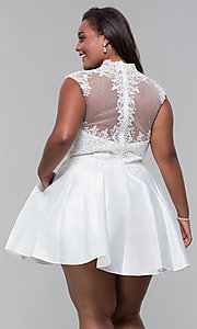 Image of plus-size short homecoming dress with lace. Style: DQ-3069P Detail Image 8