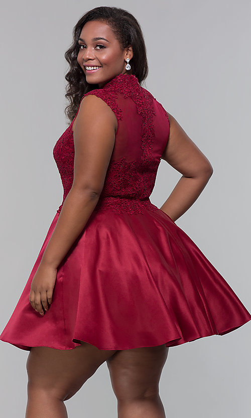 Image of plus-size short homecoming dress with lace. Style: DQ-3069P Back Image