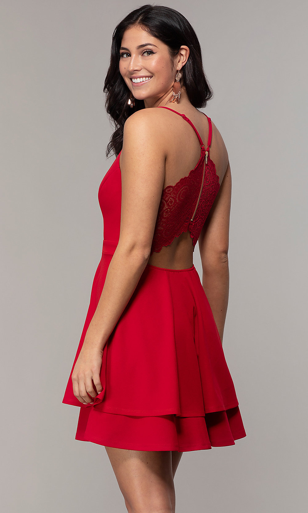 Deep-V-Neck Short Fit-and-Flare Party Dress in 2020