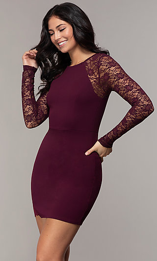 Long Sleeve Short Sheath Party Dress