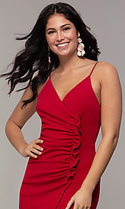 Image of faux-wrap short v-neck red party dress with ruffle. Style: EM-HER-3405-600 Detail Image 1