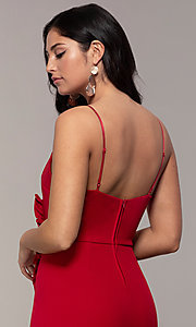 Image of faux-wrap short v-neck red party dress with ruffle. Style: EM-HER-3405-600 Detail Image 2