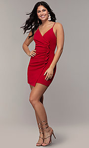 Image of faux-wrap short v-neck red party dress with ruffle. Style: EM-HER-3405-600 Detail Image 3