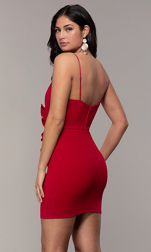 Image of faux-wrap short v-neck red party dress with ruffle. Style: EM-HER-3405-600 Back Image