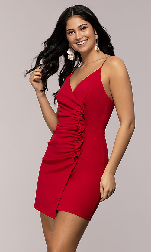 Image of faux-wrap short v-neck red party dress with ruffle. Style: EM-HER-3405-600 Front Image