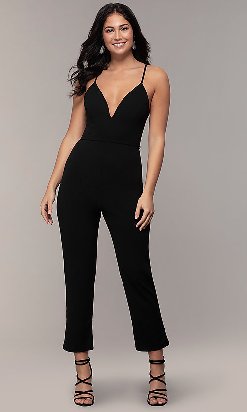 Image of lace-back v-neck cropped-leg jumpsuit for weddings.  Style: EM-CTZ-3405-001 Front Image