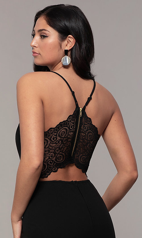 Image of lace-back v-neck cropped-leg jumpsuit for weddings.  Style: EM-CTZ-3405-001 Detail Image 2