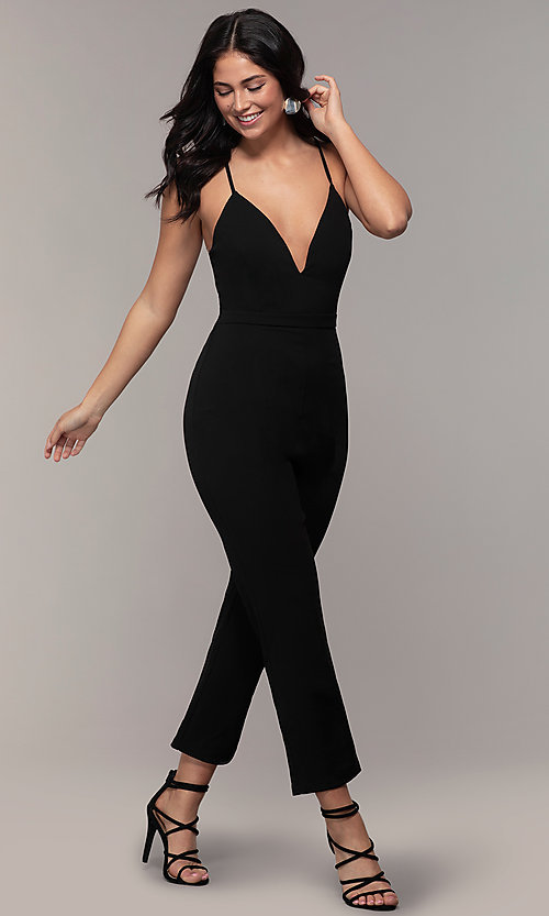 Image of lace-back v-neck cropped-leg jumpsuit for weddings.  Style: EM-CTZ-3405-001 Detail Image 3