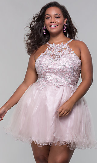 Short Appliqued Bodice Plus-Size Homecoming Dress