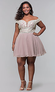 Image of short off-shoulder homecoming plus dress in mocha. Style: DQ-PL-3053P Detail Image 3
