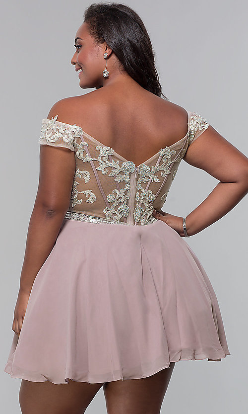 Image of short off-shoulder homecoming plus dress in mocha. Style: DQ-PL-3053P Back Image
