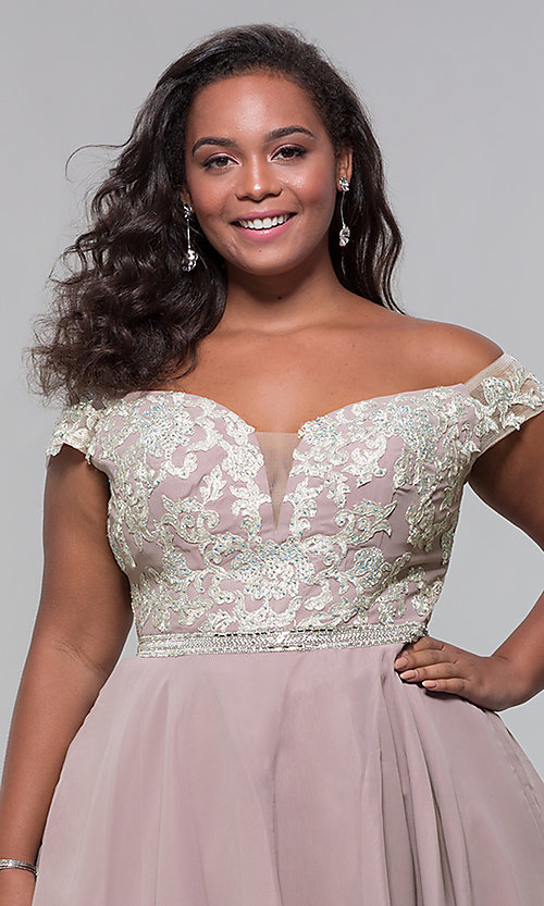 Image of short off-shoulder homecoming plus dress in mocha. Style: DQ-PL-3053P Detail Image 1