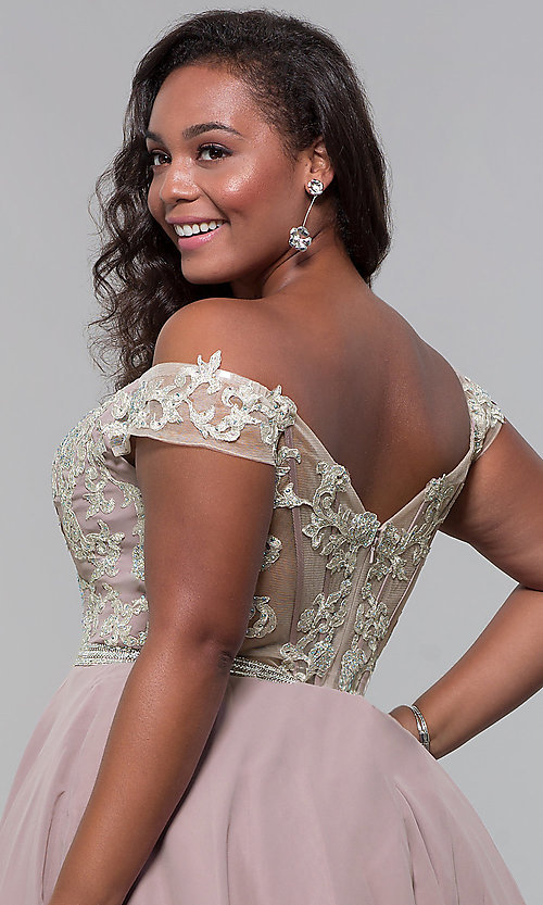 Image of short off-shoulder homecoming plus dress in mocha. Style: DQ-PL-3053P Detail Image 2