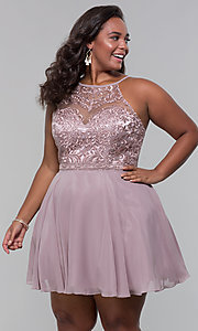 Image of short chiffon plus-size homecoming party dress. Style: DQ-PL-3008P Front Image