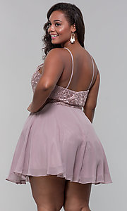 Image of short chiffon plus-size homecoming party dress. Style: DQ-PL-3008P Back Image