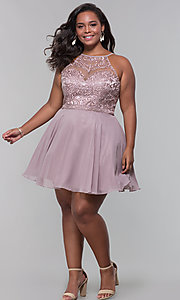 Image of short chiffon plus-size homecoming party dress. Style: DQ-PL-3008P Detail Image 3