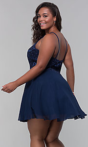 Image of short chiffon plus-size homecoming party dress. Style: DQ-PL-3008P Detail Image 5