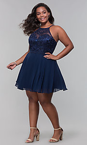 Image of short chiffon plus-size homecoming party dress. Style: DQ-PL-3008P Detail Image 8