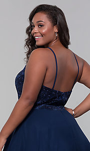 Image of short chiffon plus-size homecoming party dress. Style: DQ-PL-3008P Detail Image 7