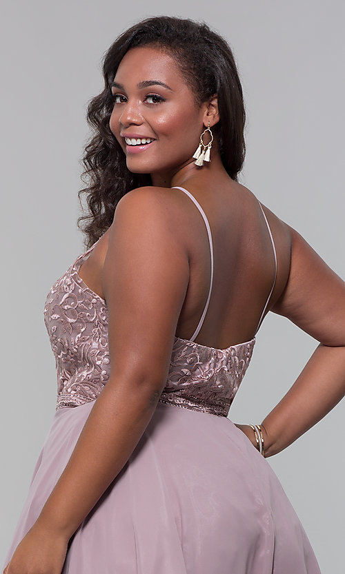 Image of short chiffon plus-size homecoming party dress. Style: DQ-PL-3008P Detail Image 2